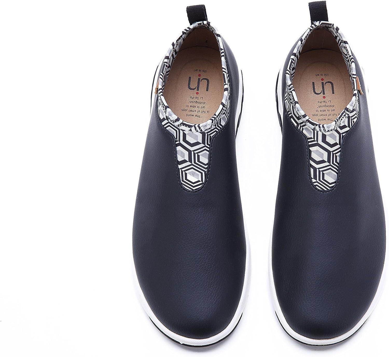 UIN Men's Volendam Microfiber Black Fasion Comfort Casual Slip-on shoes Flats