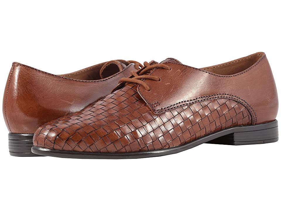 Retro Vintage Flats and Low Heel Shoes Trotters Lizzie Cognac WovenSmooth Leather Womens Slip on  Shoes $109.95 AT vintagedancer.com
