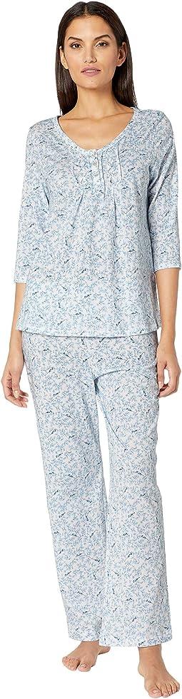 Soft Jersey 3/4 Sleeve Long Pajama Set