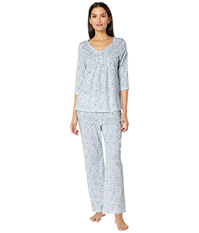 Carole Hochman Soft Jersey 3/4 Sleeve Long Pajama Set (Blue Birds) Women