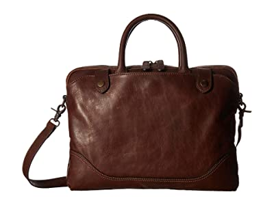 Frye Logan Slim Brief (Dark Brown Antique Pull Up) Briefcase Bags