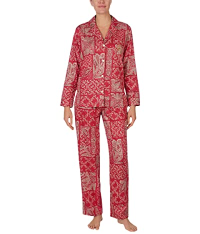 LAUREN Ralph Lauren Sateen Long Sleeve Notch Collar Pajama Set (Red/Paisley) Women