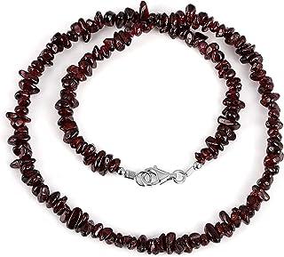 Gemshiner Collar de Mujer - Chips de Granate Natural con candado de Plata de Ley 925 Regalo para - Cumpleaños, Aniversario...