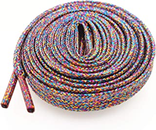 """Glitter Shoe Laces (2 Pairs 45"""") Sparkly Shiny Flat Shoelace for Sneakers Canvas Athletic Girls' Cheerleading Shoes"""