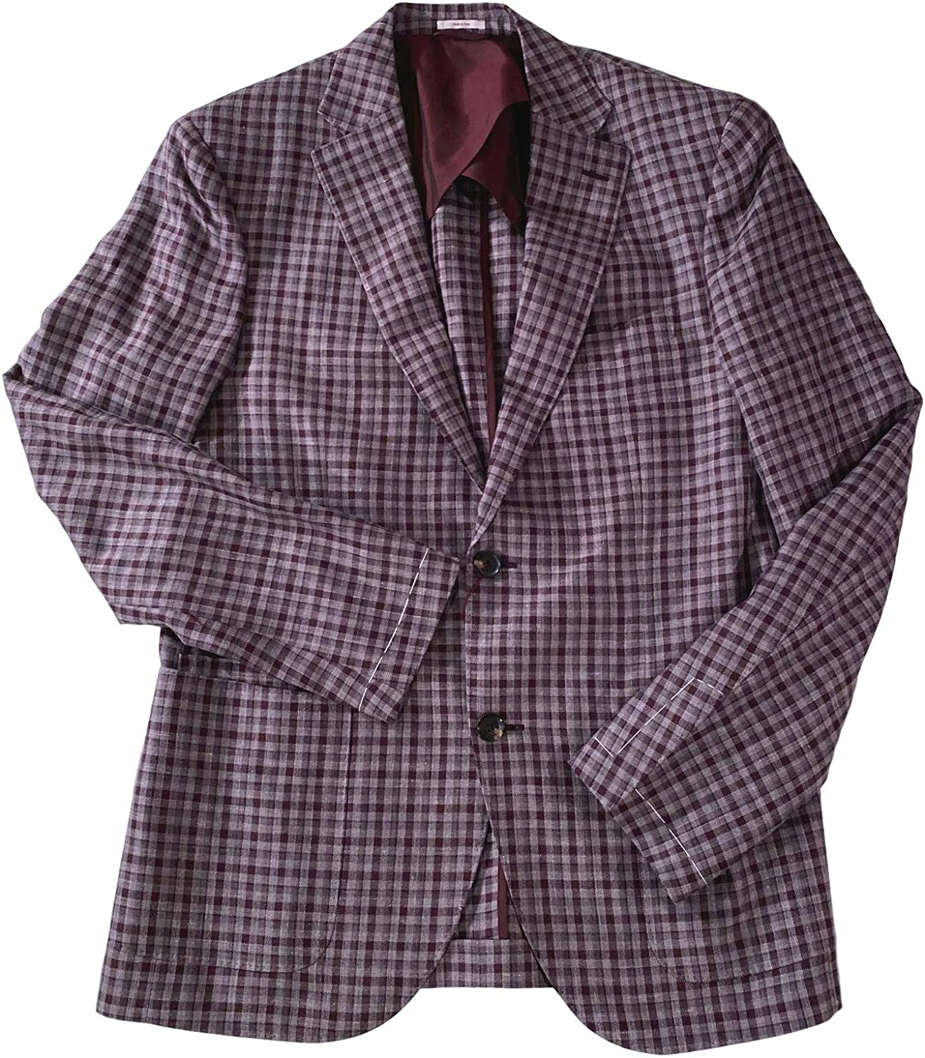 Luciano Barbera Men's Brown/Grey Check Wool/Silk/Linen 2 Button 2 Vent Topstitched Partially Lined Blazer US 40R
