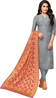 Rajnandini Women's Pure Upada Silk Straight Fit Unstitched Embroidered Dress Material(JOPLMF900_Grey_Free Size)