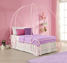 DHP Metal Carriage Bed, Fairy Tale Bed Frame, Shabby-Chic Style, Twin, Pink
