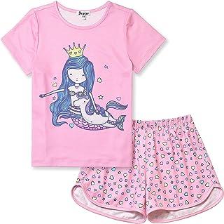 Jxstar Girls Unicorn/Mermaid/Flamingo Pajamas Cotton Set Print 3-13Years