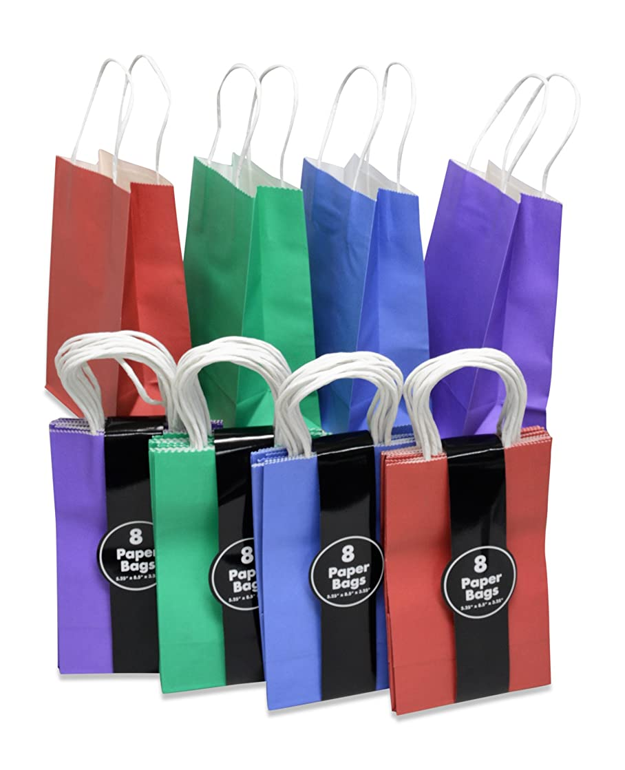Kraft Gift Bags, Solid Colors, Red Purple Blue & Green, 8 of each, bulk set of 32 (Petite 5.25