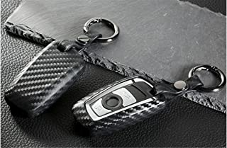 M.JVisun Soft Silicone Rubber Carbon Fiber Texture Cover Protector for BMW Key Fob, Car Keyless Entry Remote Key Fob Case for BMW X3 X4 M5 M6 GT3 GT5 1 2 3 4 5 6 7 Series - Black - Round Keychain