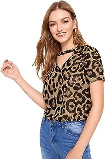 Women's Short Sleeve V Neck Leopard Print Tee Shirt Blouse Top