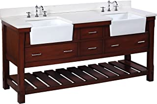 Charlotte 72-inch Bathroom Vanity (Quartz/Chocolate): Includes a White Quartz Countertop, Chocolate Cabinet with Soft Close Drawers, and White Ceramic Farmhouse Apron Sinks