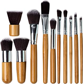 Professional Kabuki Makeup Brushes Set – 11 Pc Wooden Handle Cosmetic Foundation Make up kit Beauty Blending for Powder and Cream – Bronzer Concealer Contour Brush Travel Case - Beauty Bon
