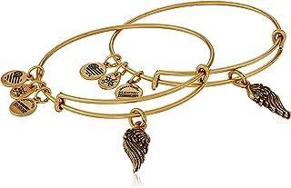 """Path of Symbols"" Wings Set of 2 Expandable Wire Bangle Charm Bracelet"