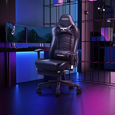 Ficmax Gaming Chair with Footrest Ergonomic PU Leather Computer Chair for Gaming, Reclining High Back Office Chair with Massa