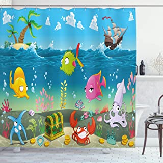 Ambesonne Animal Shower Curtain, Funny Sea Animals Underwater Ocean View with Sail Boat Palm Trees Cartoon Artwork, Cloth Fabric Bathroom Decor Set with Hooks, 70