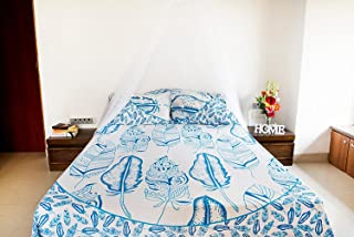Blue Feather Mandala Bedding with Pillow Covers, Indian Bohemian Hippie Tapestry Wall Hanging, Hippy Blanket or Beach Throw, Mandala Ombre Bedspread for Bedroom, Blue Queen Size Boho Tapestry