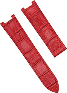 LEATHER WATCH STRAP BAND FOR CARTIER PASHA 1033 2308 2324 2377 2475 18MM RED