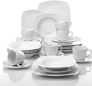 MALACASA, Série Julia, 30pcs Services de Table Complets, 6 Assiettes Plates, 6 Assiettes à Dessert, 6 Assiette à Soupe, 6 ...