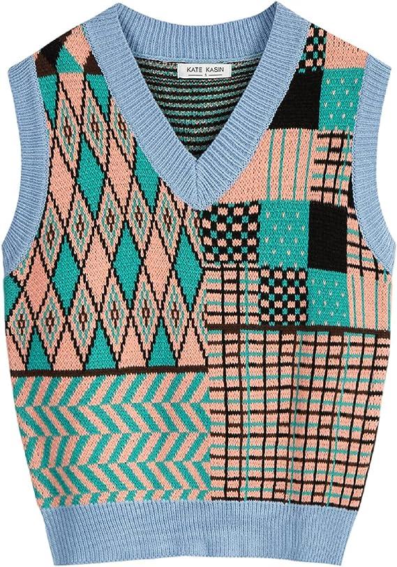 80s Sweatshirts, Sweaters, Vests | Women Kate Kasin Womens V Neck Knit Sweater Vest Color Block Irregular Geometric Pattern Sleeveless Y2K Pullover Knit Vest Tops  AT vintagedancer.com