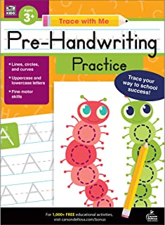 Carson Dellosa – Pre-Handwriting Practice Activity Book for Toddler, PK, K, 1st Grade, Paperback, 128 Pages, Ages 3+ (Trace with Me)