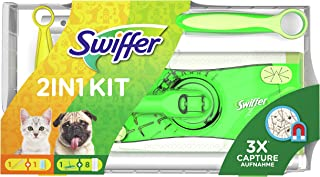 Swiffer Dammmagnet (golvstarter 8 handdukar dammmagnet 1 trasa) dammvippa idealisk mot damm, djurhår och allergener
