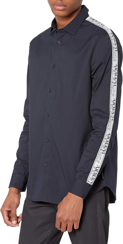 AX Armani Exchange Men's Long Sleeve Ribbon Piping Detail Button Down