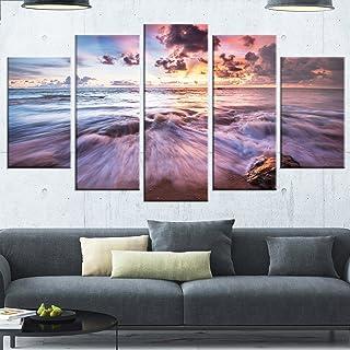Design Art MT13057-373 Metal Wall Art, 60x32-5 Panels Diamond Shape, Purple