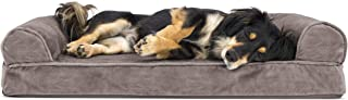 Furhaven Pet Dog Bed   Orthopedic Faux Fur & Velvet Sofa-Style Living Room Couch Pet Bed for Dogs & Cats, Driftwood Brown, Medium