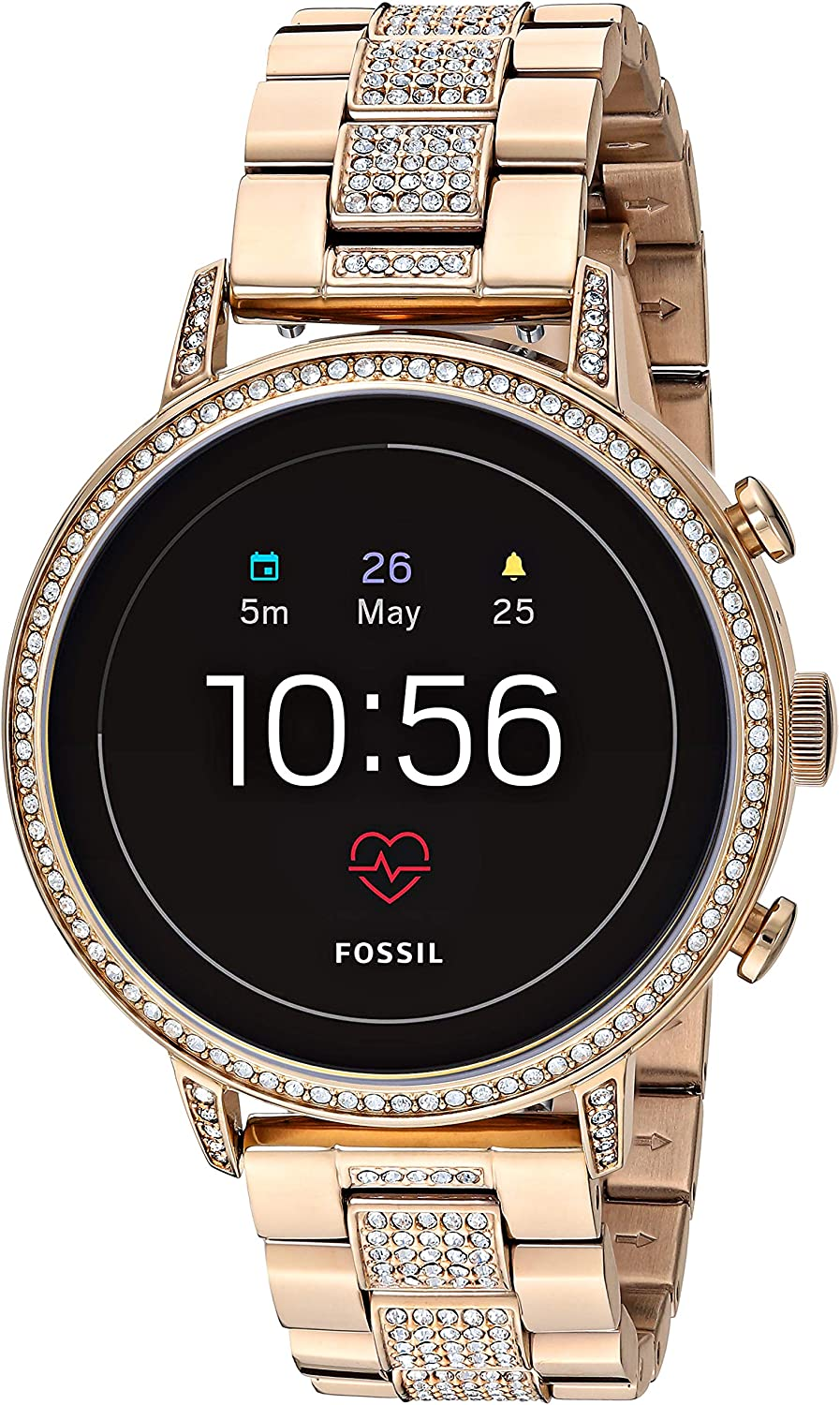 Fossil Women's Gen 4 Venture HR Stainless Steel Touchscreen Smartwatch with Heart Rate, GPS, NFC, and Smartphone Notifications