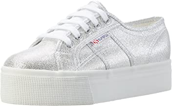 Superga Unisex Adults 2790 Lamew platform sneakers, Silver (Silver),8 US