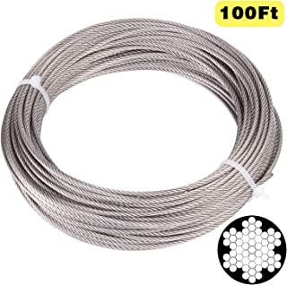 Blika 1/8 Inch Stainless Aircraft Steel Wire Rope Cable for Railing,Decking, DIY Balustrade,100 Feet (About 30.5M), 7x7 Construction, T316 Marin Grade