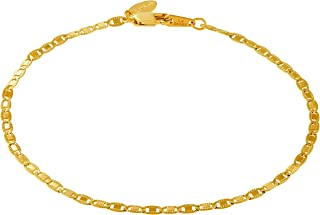 Gold Ankle Bracelets for Women Men and Teen Girls [ 2.5mm Flat Mariner Link Chain ] 20X More Real 24K Plating Than Other Anklets - Cute for Beach Party Wedding 9 10 and 11 inches