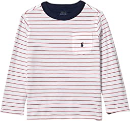 5 6 Ralph Lauren Navy Cotton Long Sleeve Top with Ruffle RRP £39 Age 2