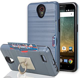 ZTE ZFIVE 2 /Prestige/Prestige 2 /Avid Plus/Maven 2/Sonata 3 / Avid Trio Case with Phone Stand,Ymhxcy [Credit Card Slots Holder][Brushed Texture] Dual Layer Protective Cover for N9136-LCK Metal Slate