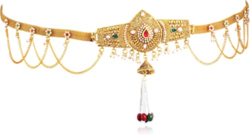 Alluring Pearl Gold Plated Wedding Jewellery Kamarband For Women KB71865GLDPJ092017