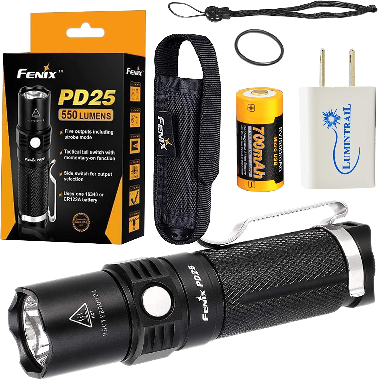 Fenix PD25 Compact LED Flashlight 直送商品 with Lumens Lumintrail 550 USB 永遠の定番モデル