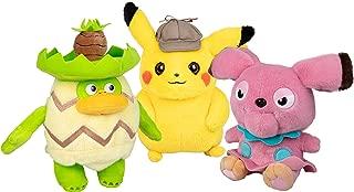 PoKéMoN Detective Pikachu Plush 3-Pack - Pikachu, Ludicolo and Snubbull - 8