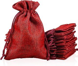 PAMIYO 30 Unidades Rojo Yute Sacos de Yute Bolsa, Calendario de Adviento Yute Bolsa tamaño 10 cm x 14 cm Calendario de Adviento plástico Bolsa Natural bolsitas para Regalo – Navidad