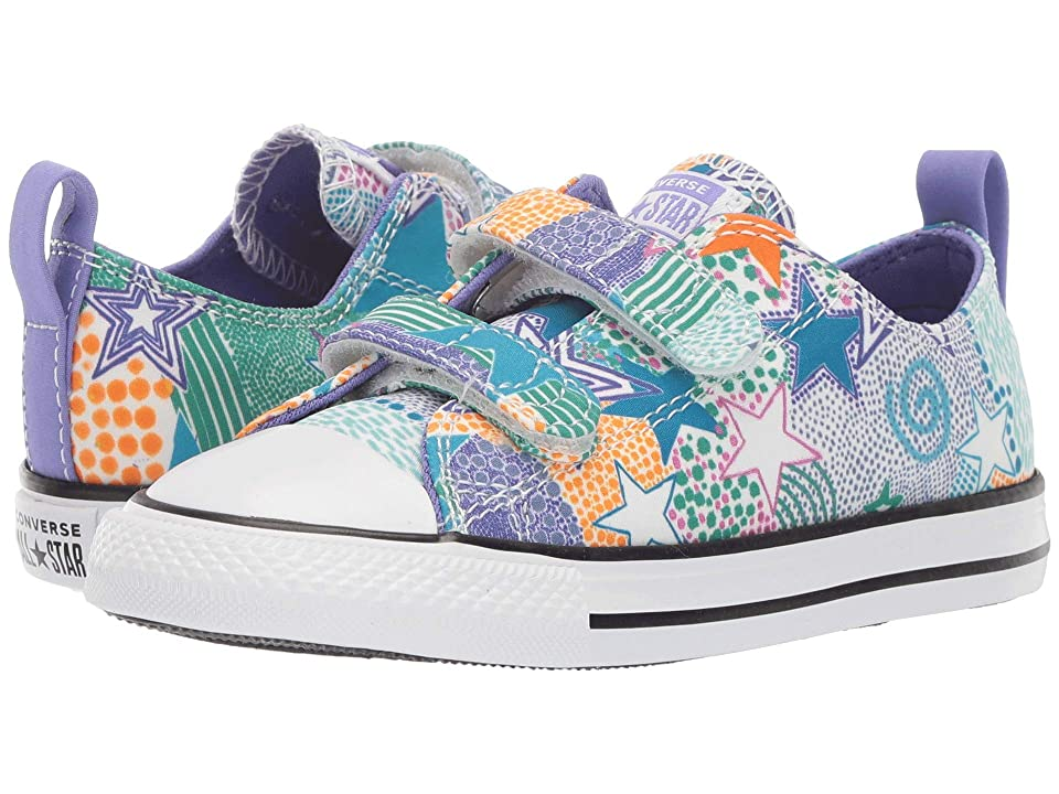 Converse Kids Chuck Taylor All Star Street 2V Mosaic Ox (Infant/Toddler) (White/Wild Lilac/Black) Girls Shoes