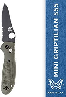Benchmade - Mini Griptilian 555 Knife with CPM-S30V Steel, Sheepsfoot Blade, Serrated Edge, Coated Finish, Olive Handle