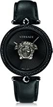 Versace Women's Palazzo Empire Stainless Steel Swiss-Quartz Watch with Leather Calfskin Strap, Black, 16 (Model: VCO050017)