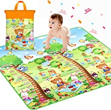 Baby Play mat, playmat,Baby mat Folding Extra Large Thick Foam Crawling playmats Reversible Waterproof Portable (Extra Large Biggest Size - 6 Feet X 5 Feet, Assorted Colour) playmat for Babies