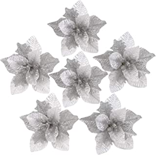Sea Team 6-Pack Artificial Glitter Poinsettia Christmas Flower Ornaments Tree Decorations, 10-inch, Silver & White
