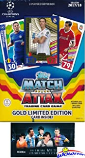 2017/18 Topps Match Attax Champions League Soccer Starter Box with 39 Cards Including EXCLUSIVE GOLD Limited Edition RONALDO & 2 Goalkeeper Cards! PLUS Game Mat & Rules with BONUS Lionel Messi Pack!