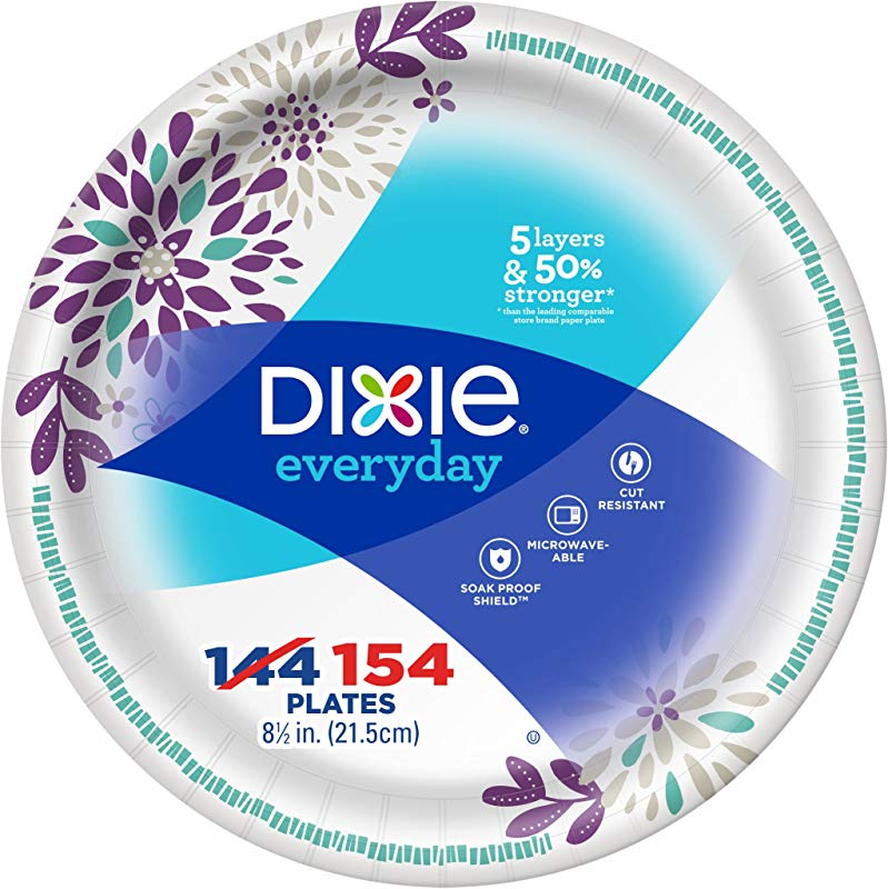 Dixie Everyday Paper Plates 8 1 2 154 Count Lunch Or Light Dinner Size Printed Disposable Plates