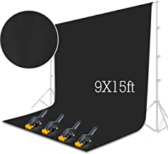 Emart Black Backdrop Background Screen 9 x 15 ft Muslin Photo Video Backdrop Studio, 4 x Backdrop Clamp Included