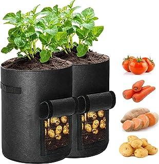 TOROTON Potato Grow Bags, 7 Gallon Garden Planting Grow Bags with Access Flap and Handles, Fabric Pots for Grow Vegetables...