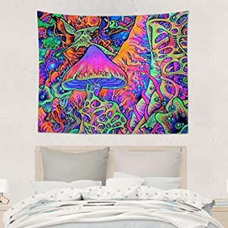 GLYASDI.S Psychedelic Trippy Mushroom Wall Hanging Tapestries, Boho Hippie Hippy Bedding Tapestry, Indian Home D¨¦cor, Trippy Smoke Magic Mushrooms, Kids Girls Boys Room Hippie Tapestry 60x80 inches