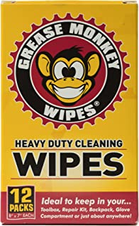 Grease Monkey Wipes Individual Heavy Duty Cleaning Wipes, 12-Count